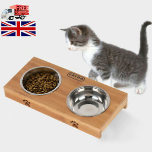 Dog-Food-Feeding-Stand-Station-Stainless-Pet-Double-Bowls-Stand-Cat-Wooden