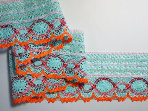"""3 metros aqua y naranja colorido fino algodón Cluny Ribete de Encaje 3.5/""""//9cm"""