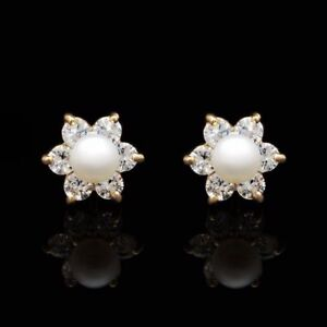 0-30Ct-Simulated-Diamond-4mm-Cultured-Pearl-Flower-Stud-Earrings-14K-Yellow-Gold