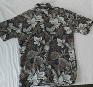 Pierre-Cardin-Men-039-s-Hawaiian-Shirt-Black-Brown-Tropical-Floral-Size-Medium-M
