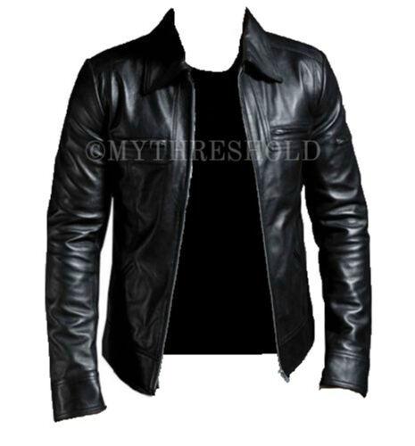 Men's Genuine Lambskin Slimfit Motorcycle Black Leather Biker Jacket 4qOrw4vZx