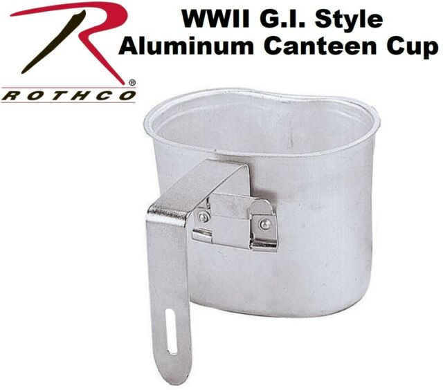 Military Style Canteen Cup With Handle Aluminum Camping Hiking Cup Rothco 513