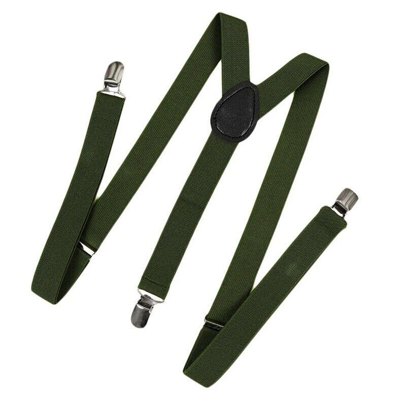 Unisex Clip on Suspender Elastic Y-Shape Back Formal Adjustable Braces, Army mu