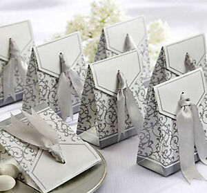 Wedding-Favours-Party-Gift-Candy-Paper-Box-New-10pcs-Unique-Golden-Silver-Ribbon