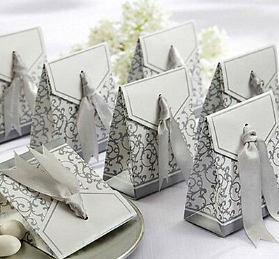 Creative Golden Silver Ribbon Wedding Favours Party Gift Candy Paper Box 10 Pcs