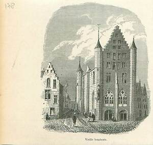Vieille-Boucherie-a-Gand-Region-flamande-Gent-GRAVURE-ANTIQUE-OLD-PRINT-1880