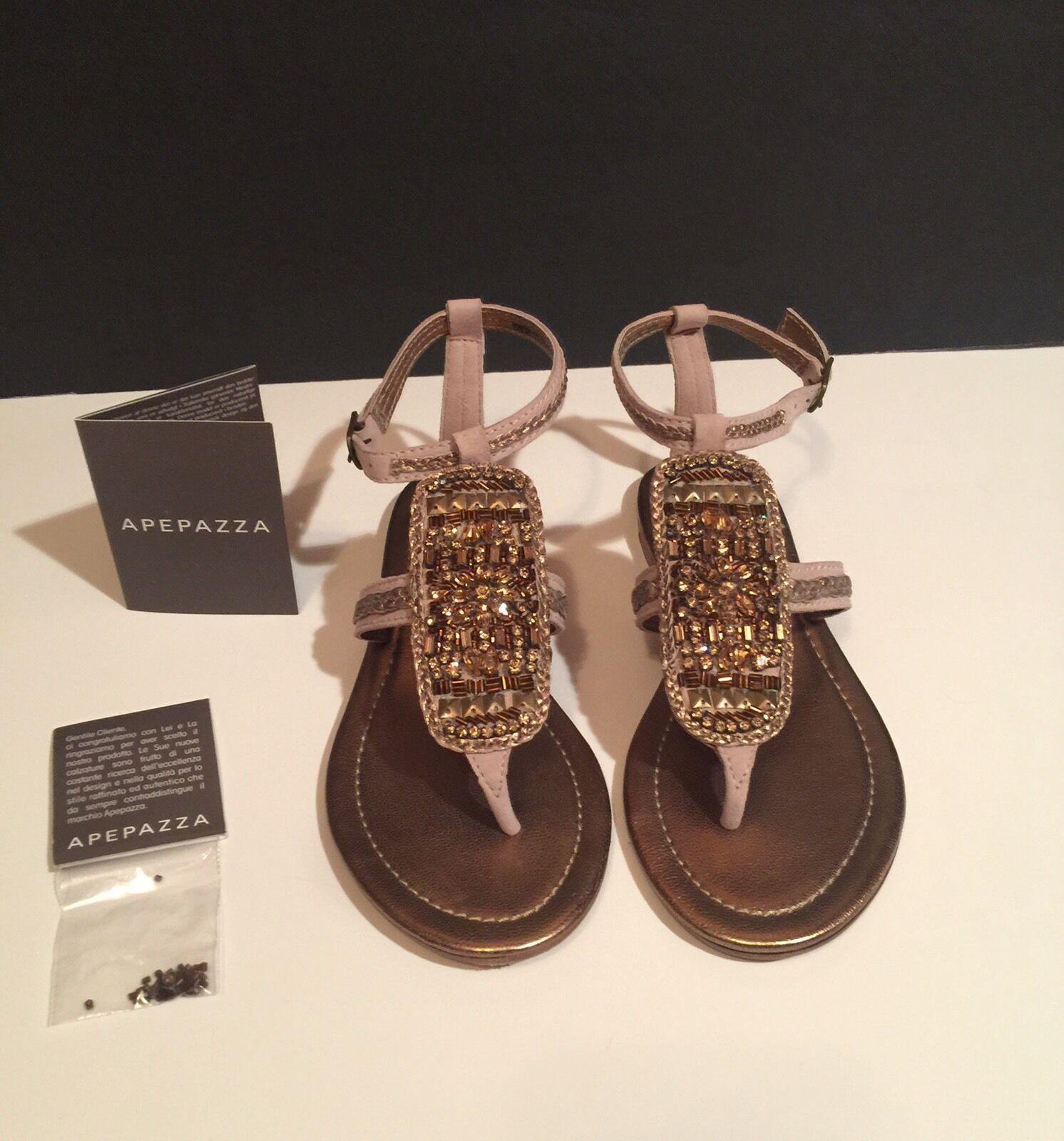 Apepazza Canarie Sand Embellished Sandals Runs Small Fits 7.5M NWB