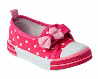 GIRLS PINK PRETTY BOW CANVAS PUMPS STRAP SHOES TRAINERS INFANTS UK SIZE 4-12