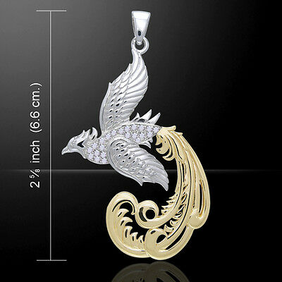 Phoenix Rebirth Resurrection Sterling Silver Pendant by Peter Stone