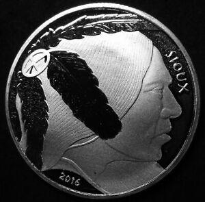 2016-Sioux-Native-American-999-Fine-Silver-1-OZ-Round-Coin-Buffalo-Crazy-Horse