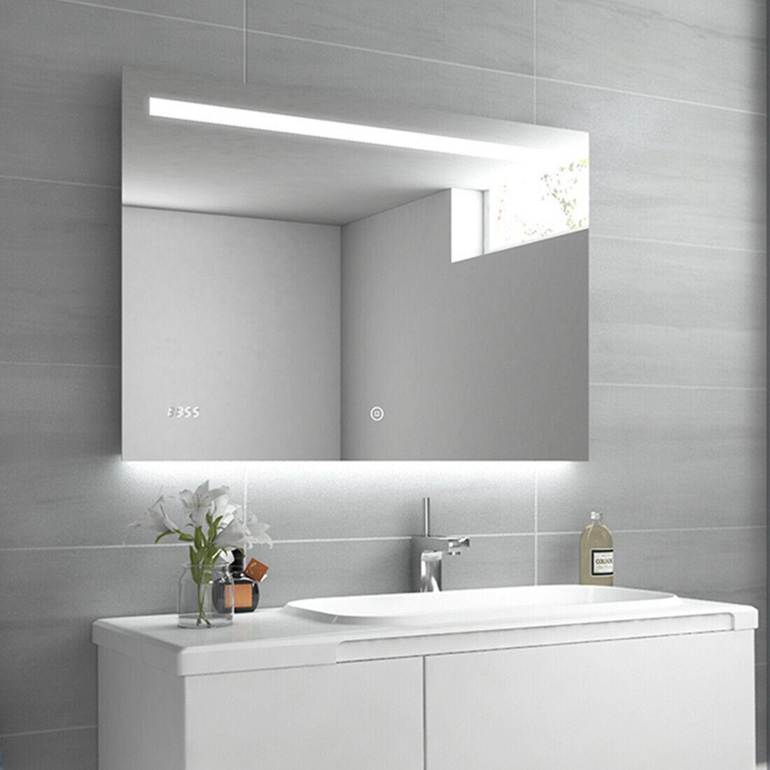 Design Badspiegel mit Beleuchtung 100x70 Beschlagfrei LED Spiegel Wandspiegel