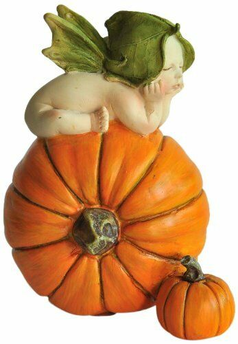 "4/"" Fairy Baby on Orange Pumpkin Garden Decor Terrarium Dollhouse Miniature"