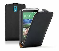 Ultra Slim BLACK Leather Flip Case Cover for HTC Desire 526G Dual (+2 FILMS)