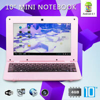 Latest 10 Inch 4gb Pink Android 4.1 Mini Notebook Laptop Wifi Computer Pc Kids