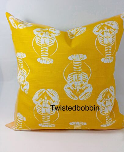 Lobster  Print Corn yellow /& White pillow cover Free Ship.Cotton.Select size