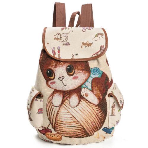 UK Women Cartoon Cat Print Canvas Rucksack School Bags Laptop Notebook Backpack