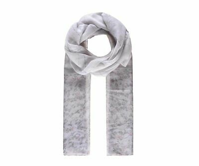 Grey Floral Print Scarf Girls Flower Silk Type Stylish Beautiful Silver Flower