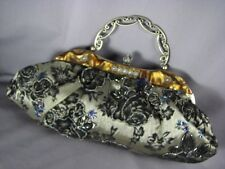 Vintage Evening Purse Glittery Satin Velvet Beads Lucite Frame Handbag Bag