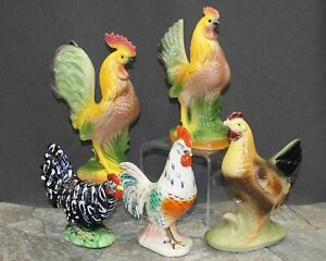 WONDERFUL-GROUP-OF-FIVE-CERAMIC-CHICKENS
