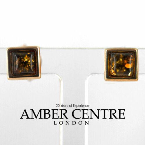Italian Made German Green Baltic Amber Stud Earrings 9ct Gold GS0020G RRP £95!!!
