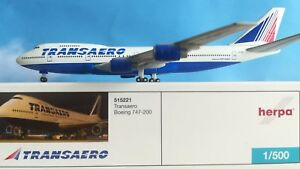 Herpa-Wings-1-500-Transaero-B747-400-VP-BQA-515221-RARE