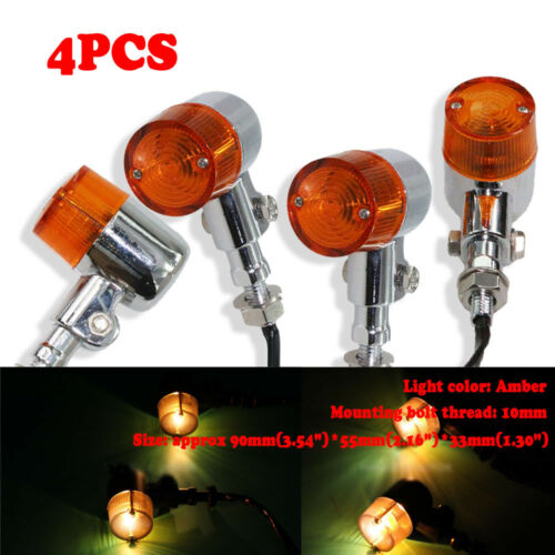 4pcs Chrome Motorcycle Turn Signal Indicator Lights Fit For Cafe Racer Touring