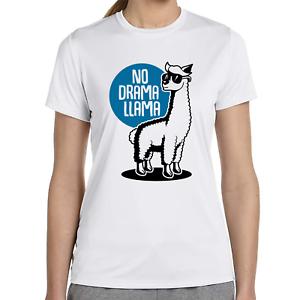 NO-DRAMA-LLAMA-Lama-Alpaca-Alpaka-Cool-Quote-Spruch-Sprueche-Damen-Girlie-T-Shirt