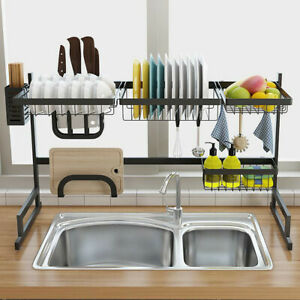 Over-Sink-Dish-Drying-Rack-Stainless-Steel-85cm-2-Tier-Kitchen-Home-Holder