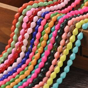 New-Arrival-30pcs-8X6mm-Faceted-Teardrop-Loose-Spacer-Glass-Beads-Mixed-Color