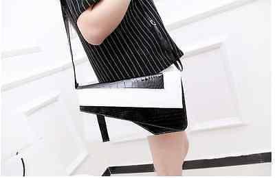 Clutch Umhängetasche schwarz weiß braun pink PU Leder Tasche Geometrie Vintage