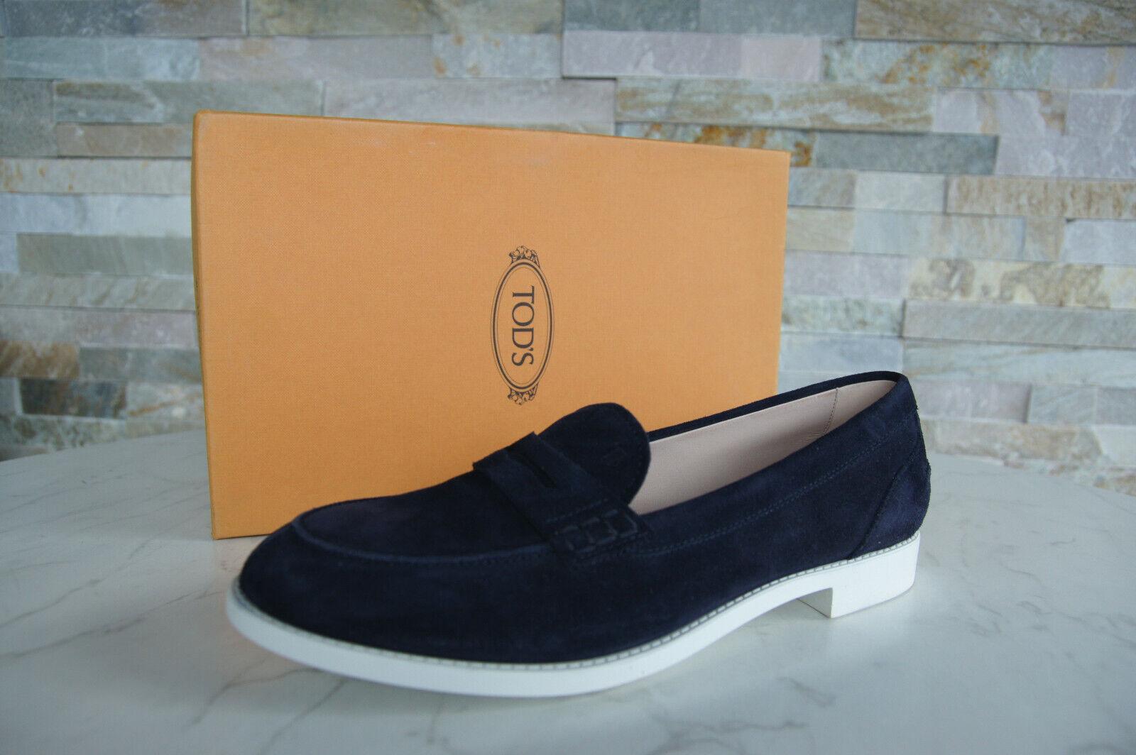 Tods Tod´s Gr 40 Slipper Halbschuhe Loafers Schuhe blau neu ehem
