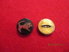 "Buttons-Black Glass Gold Leo Zodiac in brass metal shank Button-.534""-13.57mm"