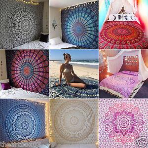 Indian-Tapestry-Wall-Hanging-Mandala-Throw-Twin-Hippie-Bedspread-Gypsy-Art-Decor