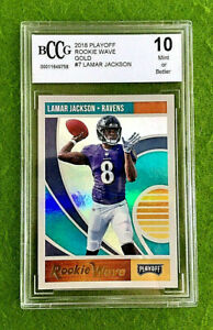 LAMAR-JACKSON-PRIZM-ROOKIE-CARD-GRADED-BCCG-10-RAVENS-RC-2018-Playoff-GOLD-SP-rc