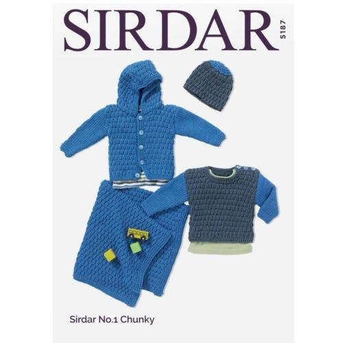 5187 Chunky Sirdar Baby /& Childs Knitting Pattern Jacket Sweater /& Blanket