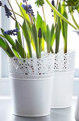 Ikea SKURAR Maceta de acero de color blanco FloralDisponible en 3 Diferentes TamañosNuevo | eBay