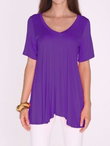 630ce742d54 Purple A-Line V-Neck Loose Short Sleeve Tunic Top T-Shirt Blouse SML ...
