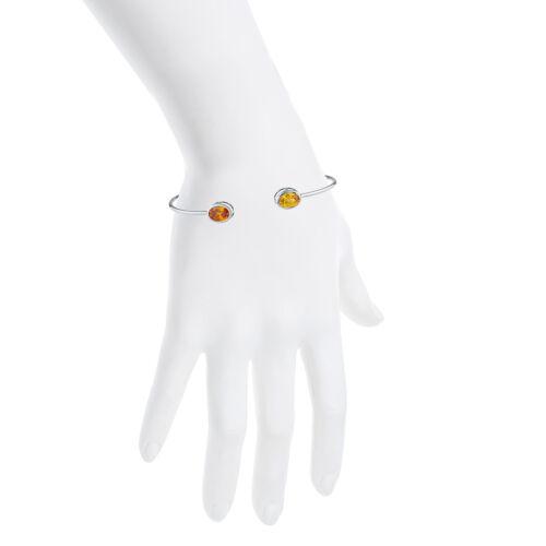 Orange /& Yellow Citrine Oval Bezel Bangle Bracelet .925 Sterling Silver