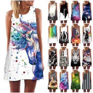 Women-3D-Print-Summer-Sleeveless-Beach-Short-Mini-Dress-Ladies-Long-Tops-T-Shirt