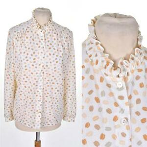 VINTAGE-1980s-COFFEE-BEANS-Print-Ruffle-Collar-BLOUSE-12-M-Cute-Pastel-Kitsch