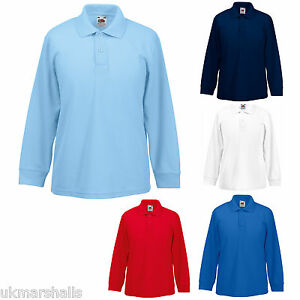 f8b8bb1e7 Fruit of the Loom Childrens Long Sleeve Polo Shirt in 5 Colours All ...