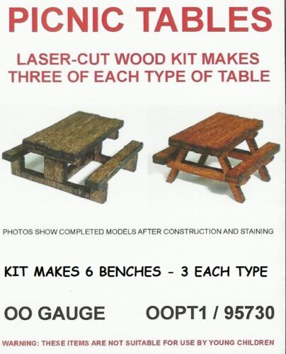 HORNBY LASER CUT OO SCALE PICNIC TABLES SUIT PECO 3 EACH TYPE 95730 SET OF 6