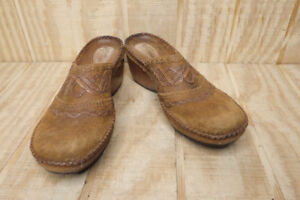 Clarks-Artisan-Collection-Women-039-s-Brown-Leather-Suede-Mule-Shoes-Size-7M