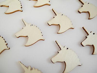 Set of 10 Wooden Unicorn Head Craft Embellishment Shapes Scrapbooking Veneers