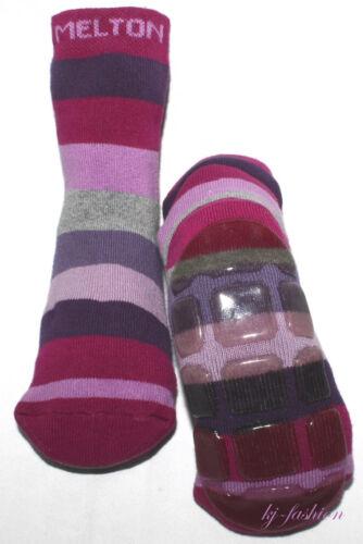 ♦NEU♦ Socken mit Gummisohle von ~ MELTON ~ Modell Stripe in Lila Tönen Gr.Wahl