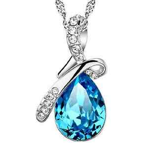 925-Silver-Blue-Shiny-Sapphire-Water-Drop-Pendant-Necklace-Womens-Jewelry