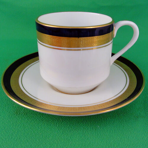 COBALT ROYALE Aynsley Cup & Saucer Merit Shape NEW NEVER USED 24kt gold England