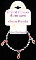 Breast Cancer Awareness Charm Bracelet Pink Ribbon Stretch Charms Beads