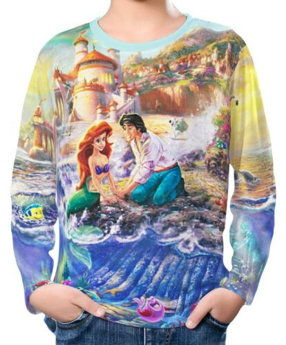 Little Mermaid Boy Kid Long Sleeve T-Shirt Tee Age 3-13 ael30157