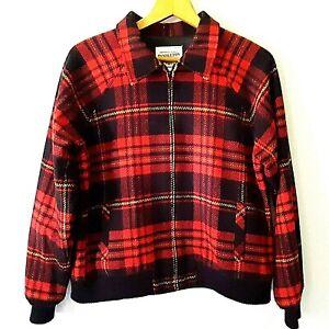 Vintage PENDLETON Womens Medium Bomber Jacket Red Plaid Lambs Wool Blend USA